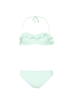 Stripped ruffled bikini set
