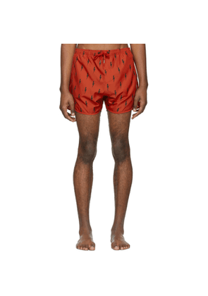 Neil Barrett Red and Black Lighting Bolt Swim Shorts