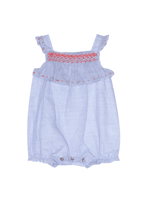 Baby smocked cotton playsuit
