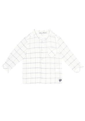 Baby checked linen-blend shirt