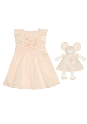 Baby dress and soft toy set
