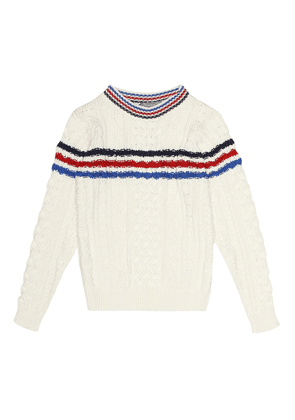 Striped cotton cable-knit sweater