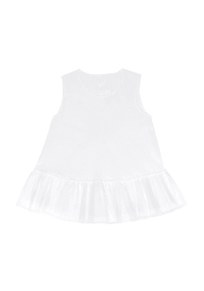 Tulle-trimmed cotton top