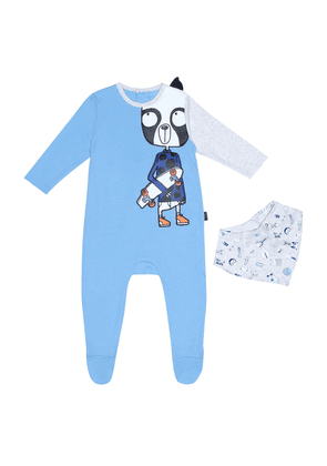 Cotton-blend onesie and bib set