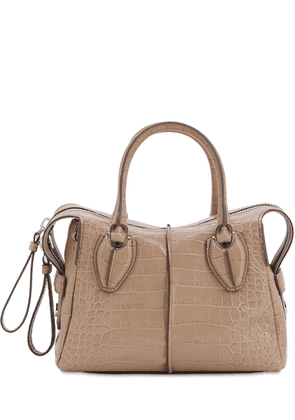 Croc Embossed Leather Top Handle Bag