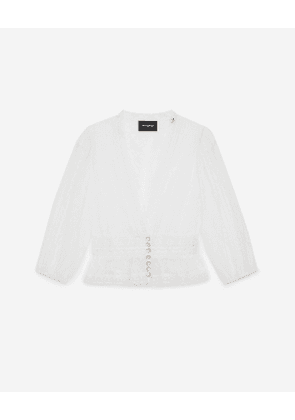 The Kooples - white lace top with v-neck - white