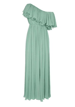 Giambattista Valli one shoulder ruffle silk gown - Green