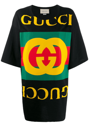 Gucci Oversize T-shirt with Gucci logo - Black