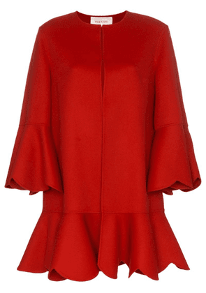 Valentino collarless ruffled coat - Red