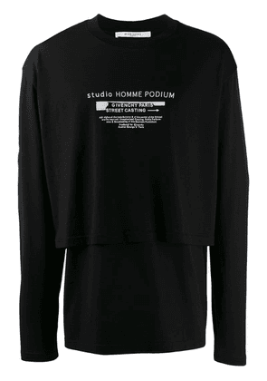 Givenchy double hem long-sleeved T-shirt - Black
