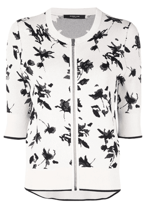 Derek Lam Floral Jacquard Knit Cardigan with Zipper - White