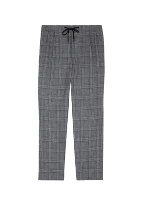 Houndstooth check plaid jogging pants