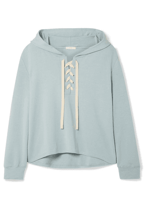 Eberjey - Mason Lace-up Stretch-pima Cotton And Modal-blend Hoodie - Sky blue