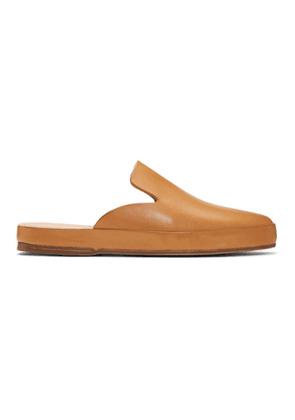 Feit Tan Hand Sewn Mule Loafers