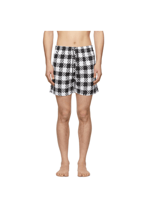 Solid and Striped Black and White Classic Gingham Swim Shorts