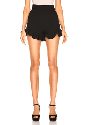 MSGM Crepe Ruffle Shorts in Black - Black. Size 46 (also in ).