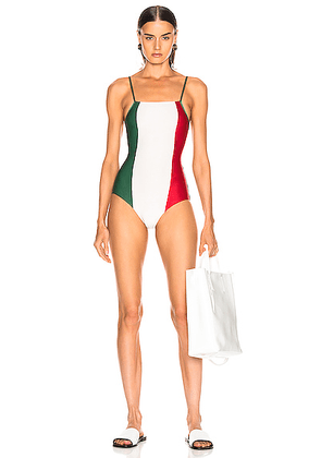 ADRIANA DEGREAS Italy Tricolor Swimsuit in Green  Off White & Red - Green,Red,White. Size S (also in ).