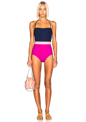 FLAGPOLE Rita Swimsuit in North Navy Multi - Blue,Pink,Purple. Size S (also in L,XS).