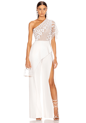 Zuhair Murad Tiki Tattoo Embroidered Cady Jumpsuit in Bright White - White. Size 38 (also in ).