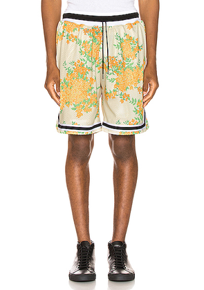 JOHN ELLIOTT Basketball Shorts in Ivory Bougainvillea - Floral,Yellow. Size M (also in S,XL).