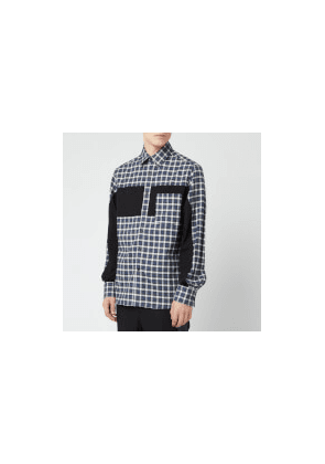 Lanvin Men's Patchwork Shirt - Grey/Blue - 38cm/15  - Grey/Blue