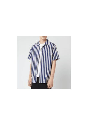 Lanvin Men's Striped Bowling Shirt - Dark Blue/Light Grey - 38cm/15  - Blue/Grey/Multi