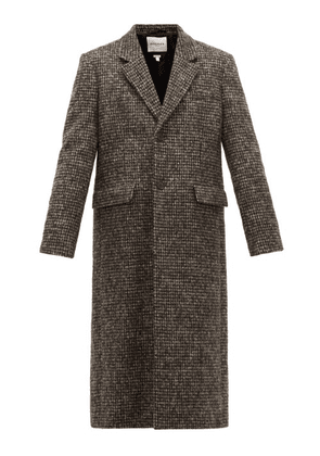 Rochas - Single Breasted Checked Wool Blend Coat - Mens - Black