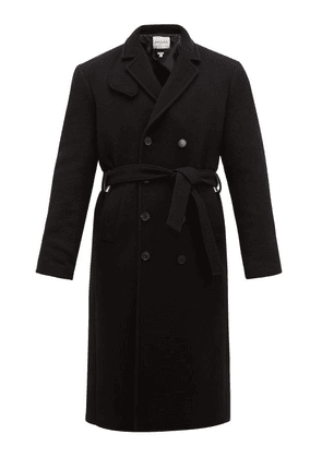 Rochas - Double Breasted Belted Wool Coat - Mens - Black