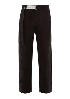 Rochas - Belted Brushed Cotton Tailored Trousers - Mens - Black