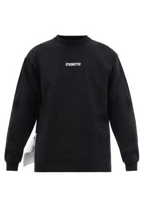 Vetements - Inverted Logo Embroidered Jersey T Shirt - Mens - Black