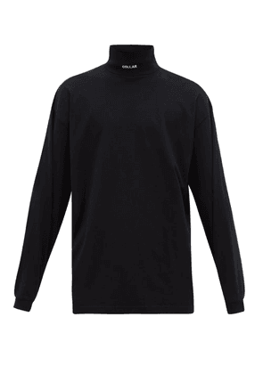 Vetements - Collar Embroidered Roll Neck Cotton Top - Mens - Black