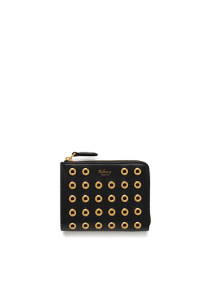 Mulberry Part Zip Coin Pouch in Black Shiny Calf with Eyelets