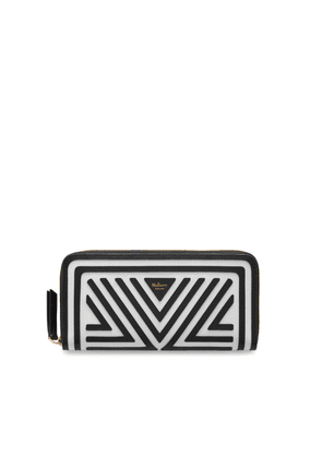 Mulberry 8 Card Zip Around Wallet in Black and White Patchwork