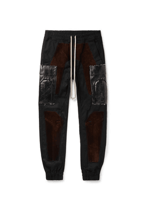 Rick Owens - Slim-fit Tapered Suede-panelled Tech-canvas Cargo Trousers - Black