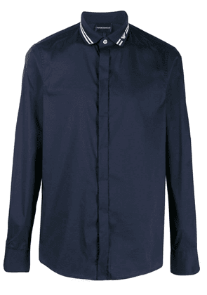 Emporio Armani long-sleeve fitted shirt - Blue