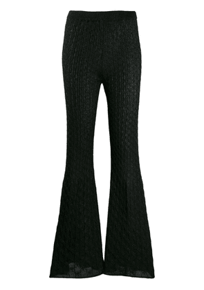 Circus Hotel lamé knit flared trousers - Black