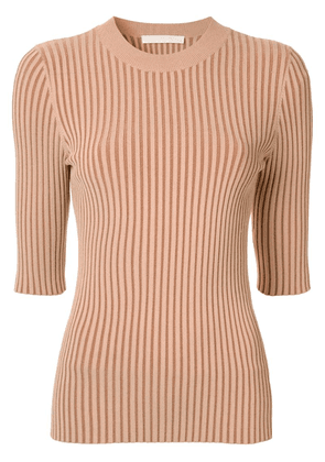 Dion Lee ribbed knit fitted top - Brown