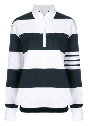 Thom Browne 4-Bar Navy Oversized Rugby Polo - Blue