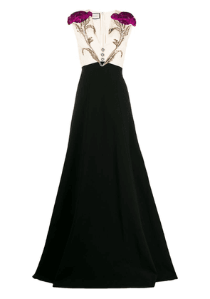 Gucci floral appliqué evening dress - Black
