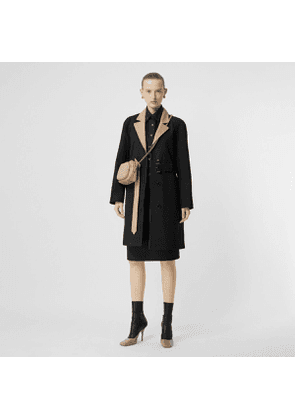 Burberry Two-tone Tropical Gabardine Belted Car Coat, Size: 04, Black