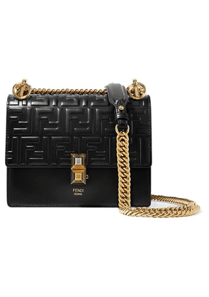 Fendi - Kan I Small Embossed Leather Shoulder Bag - Black