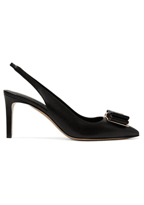 Salvatore Ferragamo - Zahir Bow-embellished Textured-leather Slingback Pumps - Black