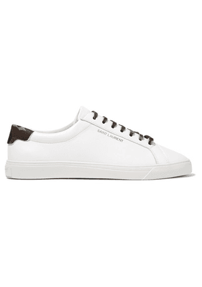 SAINT LAURENT - Andy Twill-trimmed Leather Sneakers - White