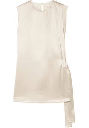 Tory Burch - Wrap-effect Hammered-satin And Silk Crepe De Chine Top - Beige