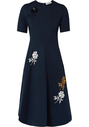 Tory Burch - Sequined Embroidered Stretch-ponte Dress - Navy