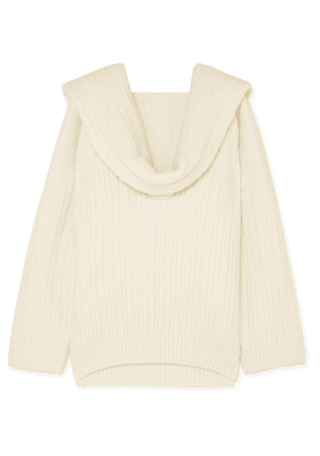 Jacquemus - Ahwa Draped Ribbed Wool-blend Sweater - White