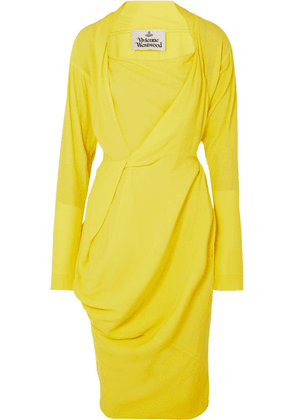 Vivienne Westwood - Grand Fond Draped Crepe De Chine Dress - Yellow