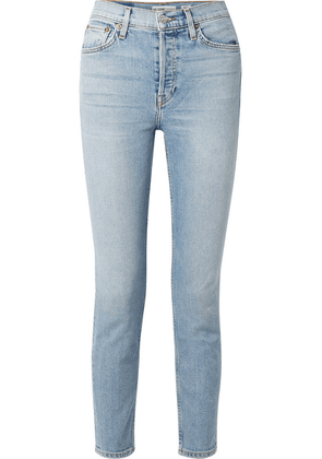 RE/DONE - Comfort Stretch Cropped High-rise Skinny Jeans - Light denim