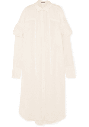 Ann Demeulemeester - Ruffled Cotton And Cashmere-blend Dress - Cream