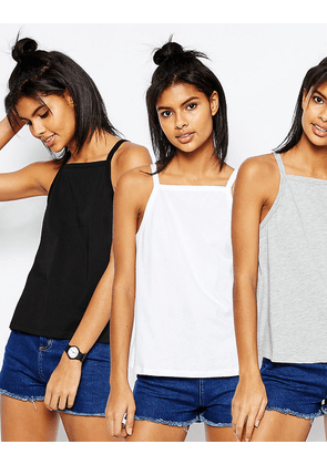 ASOS Vest In Swing Shape With Square Neck 3 Pack